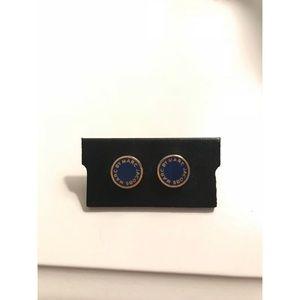 Marc by Marc Jacobs navy logo disc stud earrings